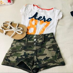 Pants - HIGH WAISTED GREEN CAMOUFLAGE SHORTS